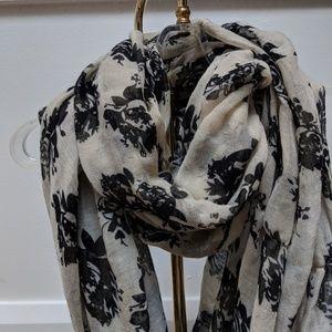 Black floral infinity scarf